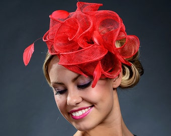 Red stunning fascinator hat for weddings, Ascot, Derby, parties-New colour for my popular fascinator