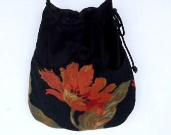 Floral Chenille  Boho Bag  Tangerine and Black Drawstring Bag  Black Velvet Bag  Bohemian Bag  Crossbody Purse