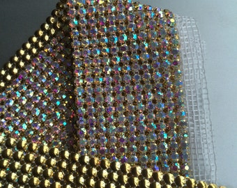 DIVA Rhinestone Banding Trim  /  AB Iridescent Crystal with Gold cone becking / 3 rows , 1yard