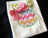 Chevron Easter Bunny Applique Bodysuit or Ruffle shirt with Three initial monogram and added bow
