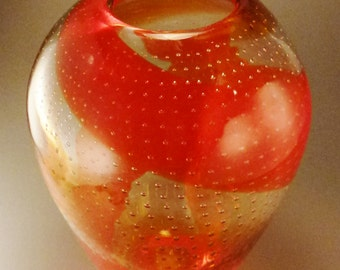 Studio ART Glass VASE Moderne Handcrafted tall 10 in Bubbles optic Spiral pattern orange and yellow colors Italy