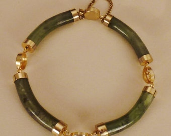 JADE BRACELET BANGLE Hinged Green variation Gilt metal app 8  in long 1/4  in wide variations