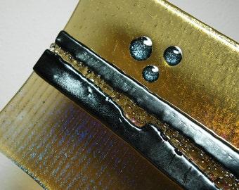 Silver Bronze Brown Iridescent Fused Glass Plate, Home Decor, Decorative Plate