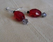 Faceted Red Czech Glass with Swarovski Crystal Earrings with Sterling Silver Ear Wires, Red Crystal Earrings, Black Diamond Crystal Earrings