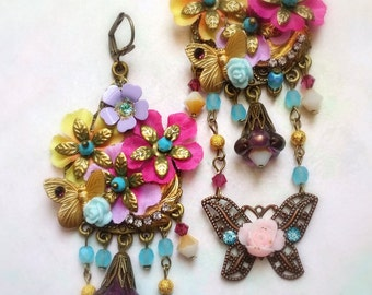 Hot Pink and turquoise shabby  flowers bohemian  romantic earrings