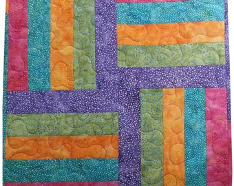 Table Topper Quilt in Rainbow Batik Stripes