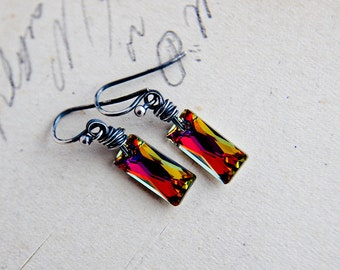 Crystal Earrings, Dangle Earrings, Sterling Silver, Wire Wrapped, Prism Earrings, Rainbow Crystal, Swarovski Crystal, Drop Earrings