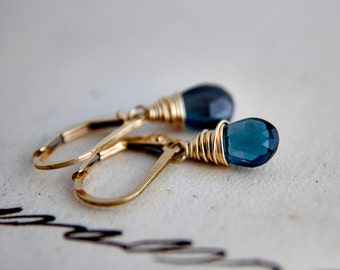 Blue Topaz Earrings, London Blue Topaz, Topaz Earrings, November Birthstone, Gold Earrings, Birthstone Earrings, Birthstone Jewelry