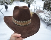 HOWDY COWBOY HAT Vintage Men's Fur Felt Cowboy Hat Brown Tone with Beige String Ribbon Accent Made in Canada