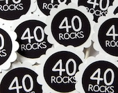 40 Rocks 40th Birthday Cupcake Toppers - Set of 12