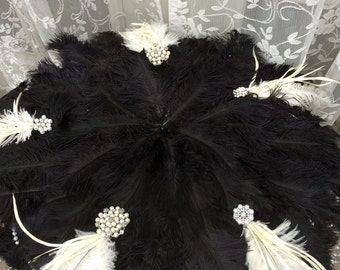 Great Gatsby Jeweled BLACK Ostrich Feather Mat for a Wedding Cake Table - Made to Order