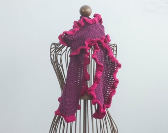 Burgundy and Purple Ruffle Scarf, Hand Crocheted Soft Ruffled Scarf, Vegan Long Winter Scarf