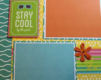 STAY COOL by the POOL 12 x 12 premade scrapbook page - summer