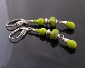 Silver and Green Earrings, Czech Glass Earrings, Beaded Green Earrings, Czech Glass Jewelry, Green Jewelry