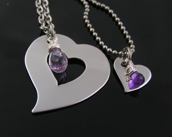 Matching couple necklace dog tag and heart necklaces partner for Couples matching jewelry sets