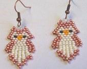 Baby Owls Hand Beaded Native American Style Earrings native southwestern gypsy boho