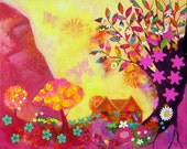 The Tree of Life, 20 x 16, Original mixed media canvas painting, wall art, colourful, abstract, landscape, cottage,