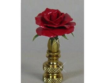 Rose Flower Lamp Finial...Custom Crafted..Custom Colors