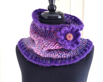 infinity scarf, handmade knitted circular purple cowl scarf