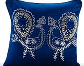 Decorative Throw Pillow Covers Accent Pillow Couch Sofa 18x18 Peacock Blue Velvet Pillow Cover Crystal Embroidered Pillow Case Peacock Deco