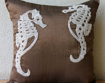 "Designer Brown Accent Pillows, Beaded Sea Horse Ocean And Beach Theme Throw Pillows Cover Square  18""x18"" Silk Pillowcase - Ivory Sea Horse"