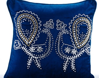 Decorative Throw Pillow Covers Accent Pillow Couch Sofa 24x24 Peacock Blue Velvet Pillow Cover Crystal Embroidered Pillow Case Peacock Deco