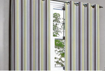 Pair of Teal And Beige Ivy Curtain Panels 26x84 by TheHomeCentric