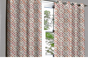 Jubiliee Rust Beige Links Grommet Unlined Curtain in Textured Jacquard Weave Fabric Decor and Housewares Window Treatment Drapes Panels