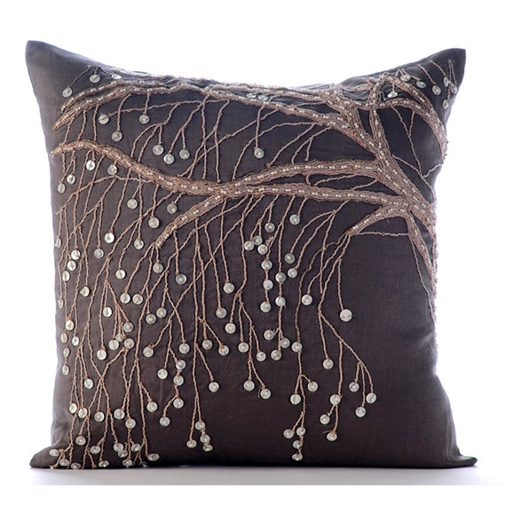 Throw Pillow Covers Brown : Designer Brown Pillow Covers 16x16 Cotton Linen