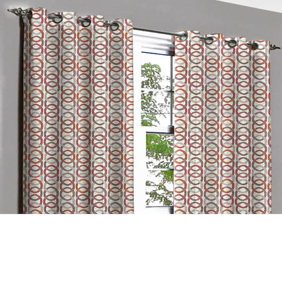 Jubiliee Rust Beige Links Grommet Unlined Curtain In Textured