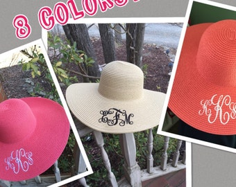 MONOGRAMMED Beach Hat - Floppy Hat - Bridesmaid Gifts - Travel - Summer-Derby Hats