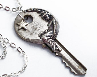 Moon Shadow - Vintage Key Necklace - Handmade Jewelry