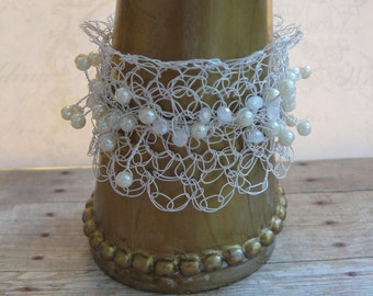 CUSTOM ORDER, White Wedding, Wire Crocheted Cuff, Bridal Bracelet, White Bracelet with Pearls, For the Bride, Unique Handmade, Made to Order