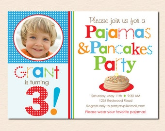 Pancakes and Pajamas Birthday Party Photo Invitation (Boy's Primary Colors) (Digital File - Printed Cards Also Available)