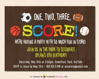 Final Score - Sports Theme Birthday Party Invitation (Digital File OR Printed Cardstock Cards Also Available)