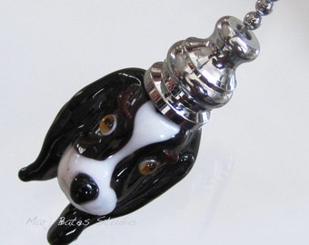 Handmade Venetian Glass Pull Chains for Fans and Lights - Puppy with Long Floppy Ears - Silver Color Ball Chain, Black and White Glass