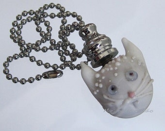 Handmade Venetian Glass Pull Chains - White Kitty Cat - for Fans and Lights - Silver or Brass Color Ball Chain, Lampwork Technique