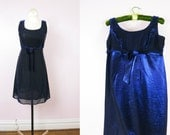 1980s Blue Shimmer Babydoll Cocktail Party Dress S