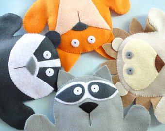SALE - PDF ePATTERN for Woodland Animal Felt Hand Puppets - Fox, Raccoon, Badger & Hedgehog