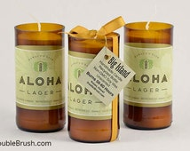 Aloha Beer Candle Made in Hawaii Recycled Beer Bottle Candle Unscented Soy Wax Paradise Love Hawaiian Gift Upcycled Glass Bottle Lager