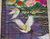 Vintage Japanese Uchikake Wedding Kimono Silk Fabric Panel Flying Cranes Flowers and Shiny Golden Ripples on Glittery Purple
