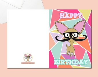 Chihuahua Greeting Card Tessellation Geometric Print