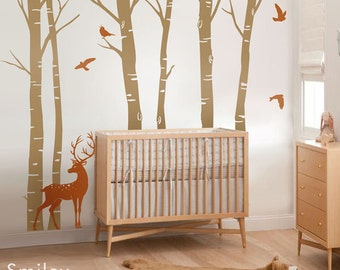 Birch Trees Wall Decal Forest Trees Wall Decal Deer Wall Decal Nature Trees Nursery Wall Decal Baby Room Art Decor Bambi Wall Decal Sticker