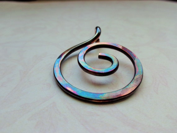 Copper Swirl Pendant, Hand Forged Copper Spiral, Hand Hammered Copper Pendant, Earthy, Rustic