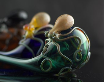 Octopus Glass Churchwarden Pipe Hand Blown Thick Wall in YOU CHOOSE the COLOR, Made to Order