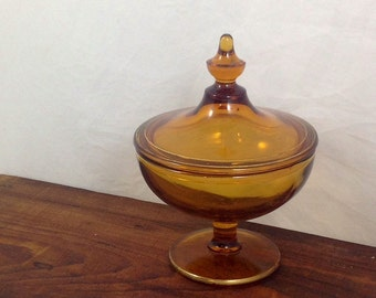Vintage Amber Glass Powder Jar or Dresser Jar