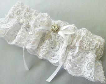 White Alencon Beaded Lace Bridal Garter Pearl Rhinestone Accent Wedding Garter Bridal