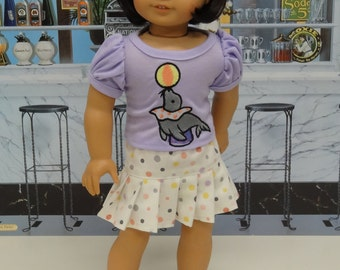 Performing Seal - pleated skirt with embroidered tshirt for American Girl doll