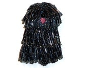 Beaded PULI, KOMONDOR, or BERGAMASCO sheepdog dog art pin pendant - Black, Gray, White, or Brown  (Made to Order) Free Usa Shipping