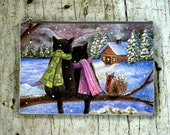 Cosmetic Bag Pouch Accessory for Purse black Cat 585 Squirrel winter painting by Lucie Dumas